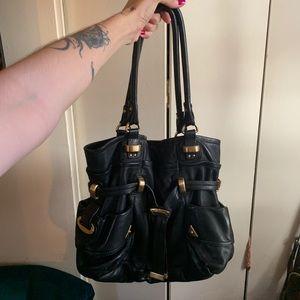 Vintage Black leather B. Makowsky hobo bag